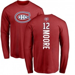 Men's Dickie Moore Montreal Canadiens Backer Long Sleeve T-Shirt - Red