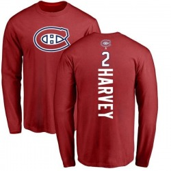 Men's Doug Harvey Montreal Canadiens Backer Long Sleeve T-Shirt - Red