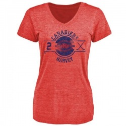 Women's Doug Harvey Montreal Canadiens Insignia Tri-Blend T-Shirt - Red