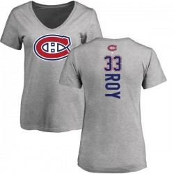 Women's Patrick Roy Montreal Canadiens Backer T-Shirt - Ash